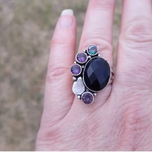 Handmade Jewelry - Black Onyx and Mystic Topaz Silver Ring. Size 7.50